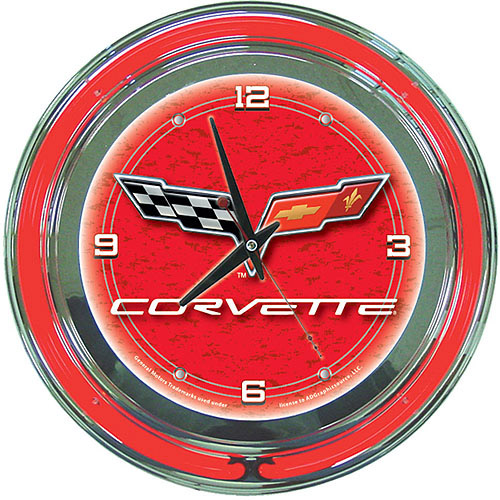 "Corvette C6 14"" Neon Wall Clock, Red"