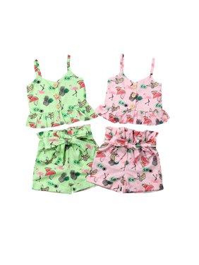 USA Newborn Toddler Girl Clothes Ruffle Tops Bow Shorts Pants Dress 2PCS Sunsuit