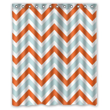 HelloDecor Chevron Light Blue Orange and White Zigzag Stripes Shower Curtain Polyester Fabric Bathroom Decorative Curtain Size 60x72 Inches