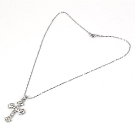 Silver Tone Faux Crystal Cross Pendant Chain Necklace Jewelry Gift