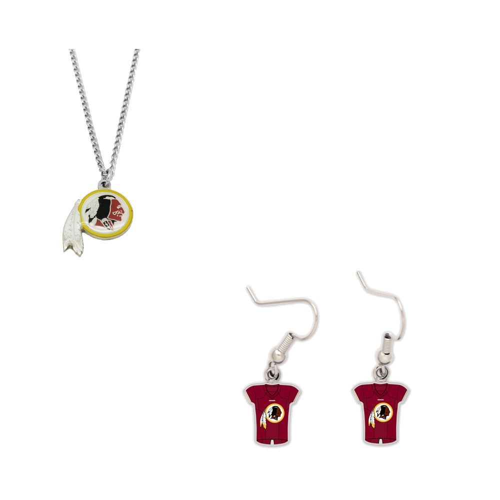 Bundle: Washington Redskins Logo Necklace and Jersey Earrings
