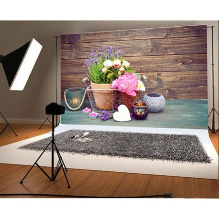 70s Backdrop (HelloDecor Polyster 7x5ft Photography Backdrop Decoration with Lavender and Teelichtern Wood Wall and Floor Scene Photo Background Children Baby Adults Portraits)