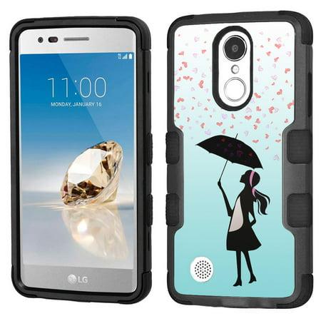 reputable site bf990 2a61b Hybrid Case for LG K20 Plus / LG K20-V / LG Harmony, OneToughShield ®  3-Layer Hybrid Shock Absorbing Phone Case (Black/Black) - Rain/Hearts