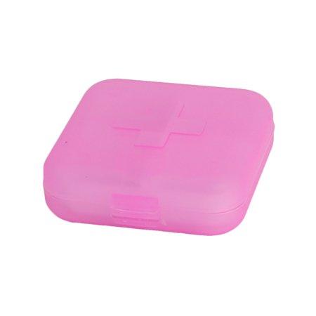 Portable 4 Slots Medicine Pill Storage Box Case Holder Container Organizer Pink - image 1 de 1