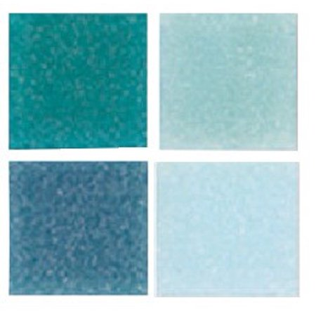 Mosaic Mercantile Authentic Glass Mosaic Tiles, 3/8 Inch, Blue Colors, 1 Pound Bag - Glass Mosaic Blends