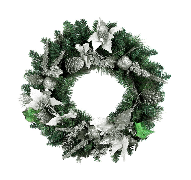 "24"" Pre-Decorated Silver Poinsettia, Pine Cone Artificial Christmas Wreath Unlit"
