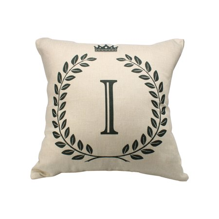 Home Cotton Linen Letter I Pattern Zippered Pillow Cushion Cover 18 x 18 (Cotton Letter)