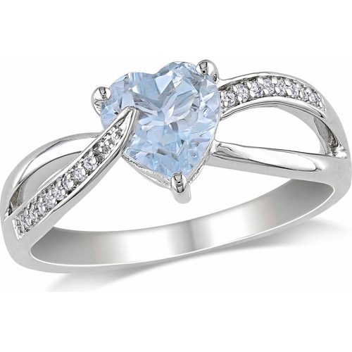 1-1/2 Carat T.G.W. Aquamarine and Diamond-Accent Sterling Silver Cross-Over Heart Ring