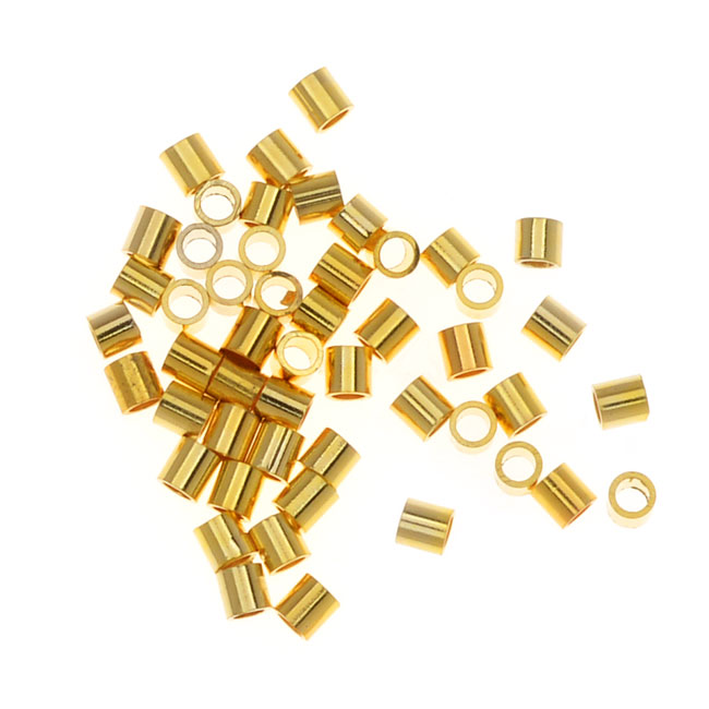 Tube Crimp Beads, 1.5 x 1.5mm, 50 Pieces, Gold Plated