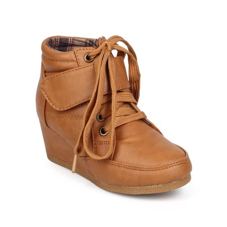833c6718ca24 Link - Link EA20 Leatherette Round Toe High Top Velcro Wedge Sneaker ...