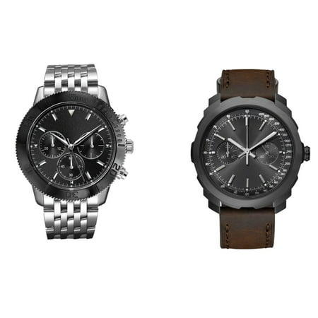 George Dress & Casual Analog Quartz Watch Set - Silver and Brown