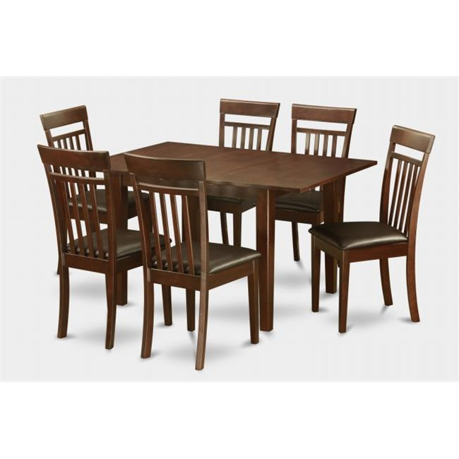 East West Furniture PSCA7-MAH-LC 7 Pc Dining Table 32x60in With 6 Slatted Back Faux Leather Seat Chairs