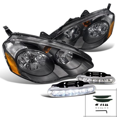 Spec-D Tuning 2002-2004 Acura Rsx Jdm Diamond Black Headlights + Led Front Bumper Fog Lamps (Left + Right)