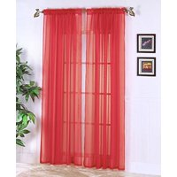 "Decotex 1 Piece Elegant Solid Sheer Window Curtain Panels Treatment Drapes (55"" X 36"", White)"