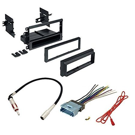 jeep 2003 - 2006 wrangler car radio stereo cd player dash install mounting trim bezel panel kit + harness + radio harness+ mini to rca 6f cable