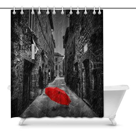 MKHERT Red Umbrella On Dark Narrow Street in European Italian Town Waterproof Fabric Shower Curtain Set Bathroom Hooks 60x72 inch
