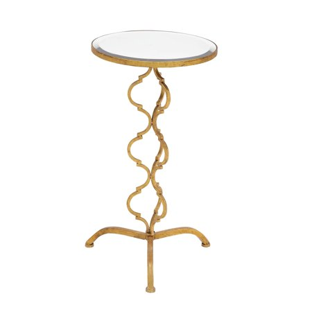Decmode 30 Inch Glam-Inspired Byzantine Mirrored Metal Accent Table, Gold