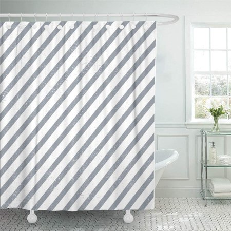 PKNMT Blue Stripe Striped Pattern is Only Without Grunge Dots Gray Diagonal Geometric Shower Curtain Bath Curtain 66x72 inch ()