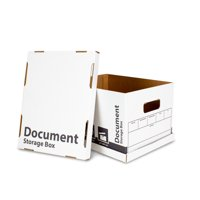 10 Count Document/File Storage Box with Lift-off Lid, White, 12 in x 10 in x 15 in