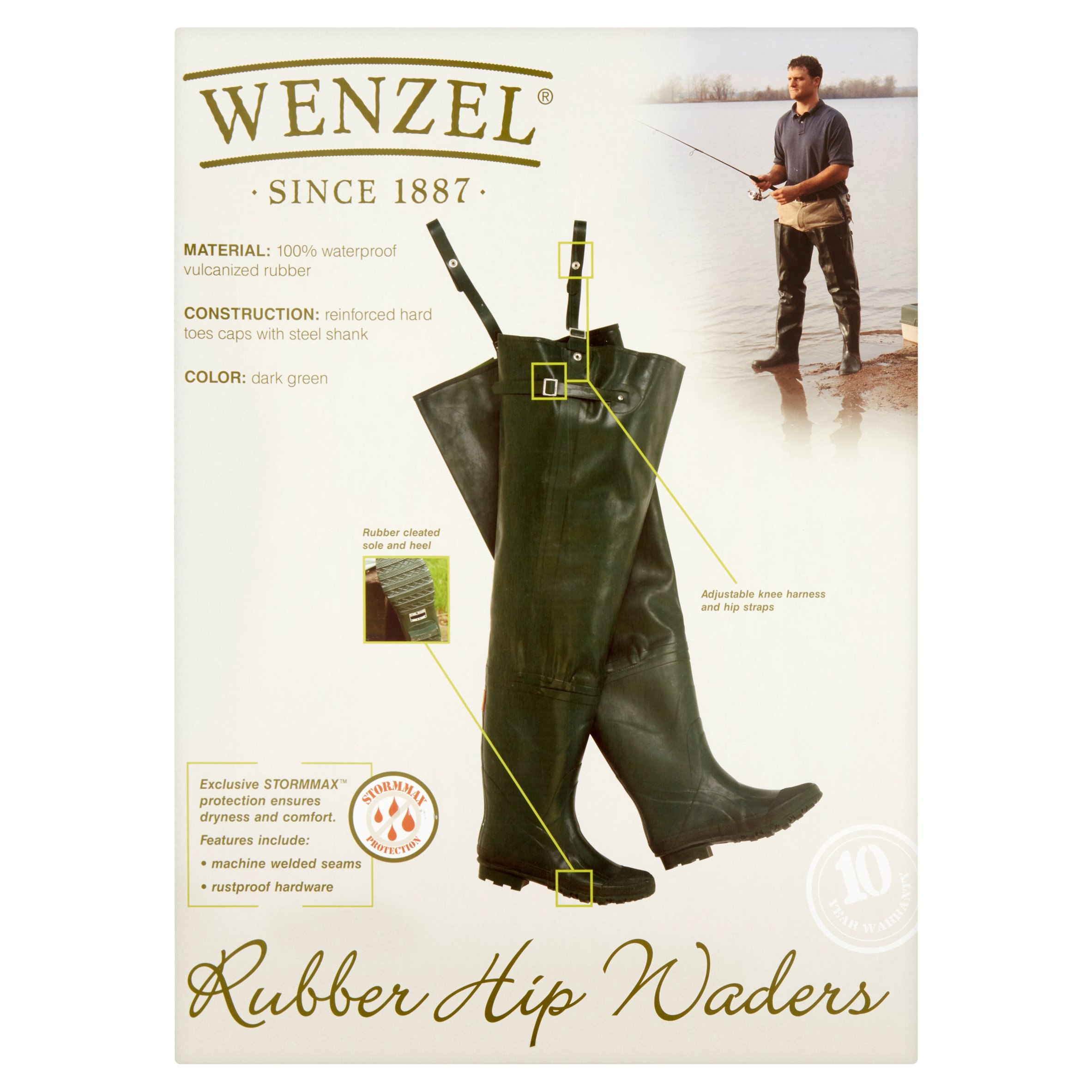 Wenzel Dark Green Rubber Hip Waders Size 11