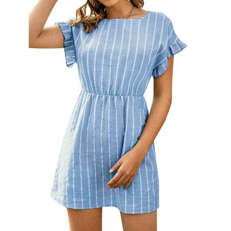 HUBERY Women Vertical Stripe Printed Boat Neck Ruffled Short Sleeves Mini Dress