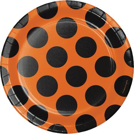 Orange And Black Polka Dot Paper Plates 8 Pack Walmart Com