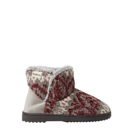 Dearfoams Womens Chenille Knit Boot Slippers Cable Knit Slipper Boots