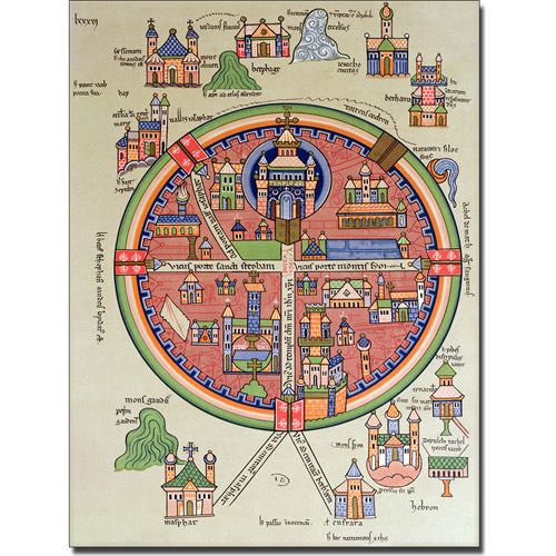 Trademark Art 'Map of Jerusalem and Palestine' Canvas Art