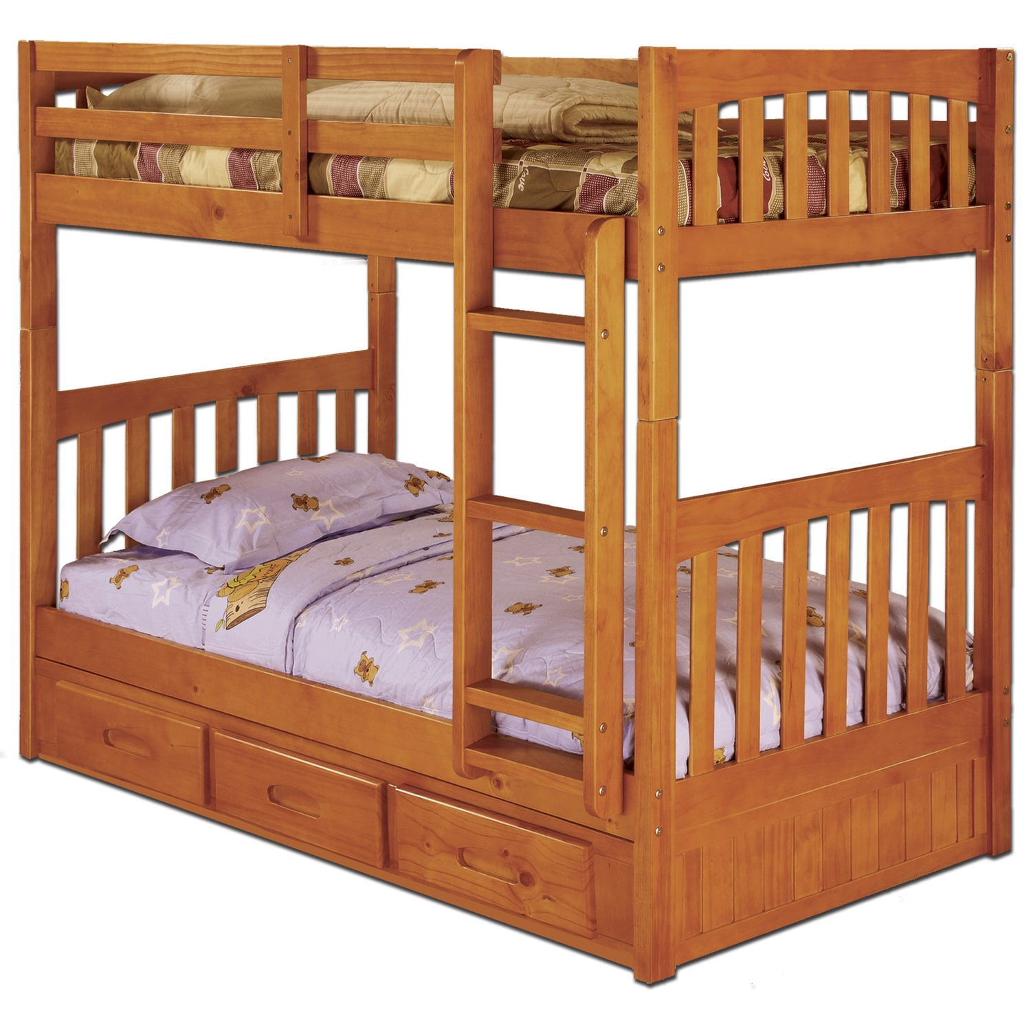 american furniture classics pinewood bunk bed with 3