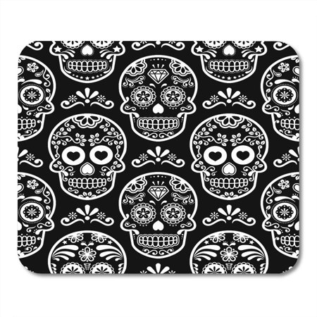 SIDONKU Pattern Mexican Sugar Skull on Black Halloween White Candy Celebration Calavera Cool Mousepad Mouse Pad Mouse Mat 9x10 inch](Sugar Candy Skull Halloween Makeup)