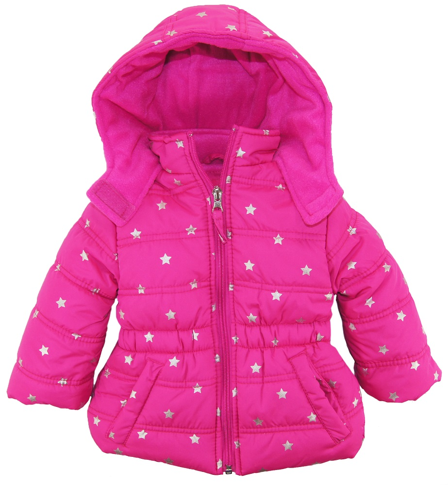 Pink Platinum Baby Girls' Silver Star Hooded Winter Puffer Jacket