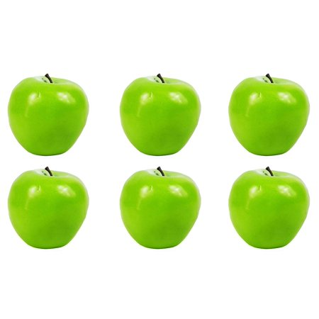 6pc Artificial Washington Green Apple Apples - Plastic Fruit - Six Pieces, Includes 6 Faux Apples! By Viabella