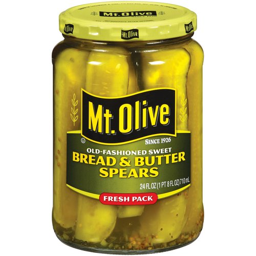 Mt. Olive Bread And Butter Spears Old Fashioned Sweet Pickles, 24 fl oz