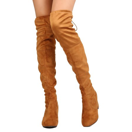 0196c2b69ba4 Women Faux Suede Thigh High Chunky Heel Boot FC84 - Walmart.com