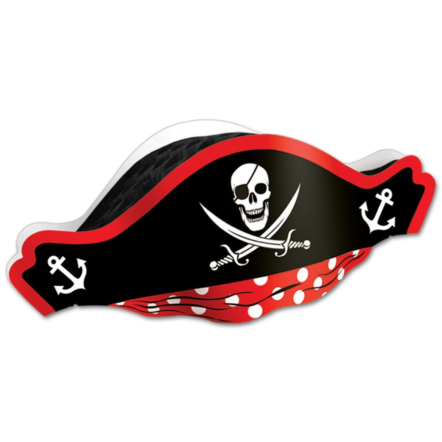 Club Pack of 48 Printed Pirate Party Hat with Tissue Crown and Bandanna