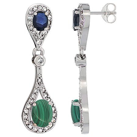 Malachite White Earrings (14K White Gold Natural Malachite & Blue Sapphire Oval Dangling Earrings White Sapphire & Diamond Accents, 1 3/8 inches long)