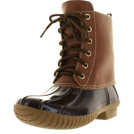 AXNY DYLAN Women's Lace Up Two Tone Calf Rain Duck Boots Run Half Size