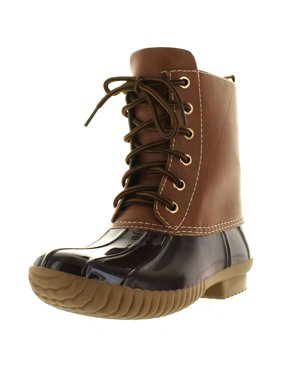 1592d3af611 Product Image AXNY DYLAN Women s Lace Up Two Tone Combat Style Calf Rain Duck  Boots