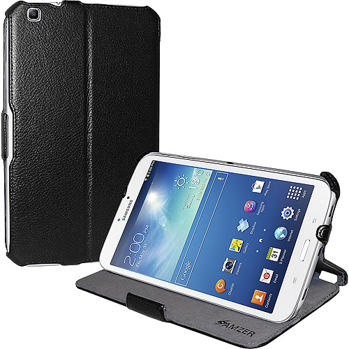Amzer Shell Portfolio Case for Samsung Galaxy Tab 3 8.0, Black Leather Texture