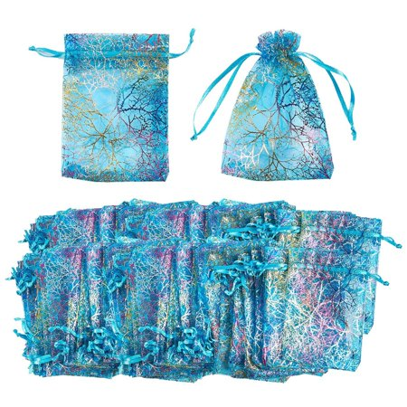 Organza Bags - 120-Count Blue Coral Satin Drawstring Organza Bags, Mesh Favor Bags for Baby Showers, Wedding Gifts, Special Occasions, Party Favors - 3.5 x 4.7 Inches