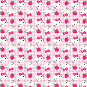 "Springs Creative Hello Kitty Strawberries on Gingham 43"" wide Fabric by the Yard"