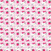 "Hello Kitty Cotton 43"" Strawberries on Gingham Fabric, per Yard"