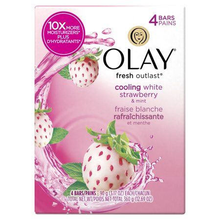 Olay Fresh Outlast Cooling White Strawberry & Mint Beauty Bar 3.17 oz, 4 count