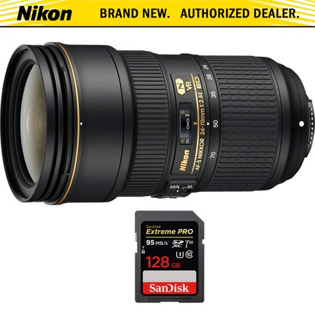 Nikon 24-70mm f/2.8E ED VR AF-S NIKKOR Zoom Lens for Nikon Digital SLR Cameras (20052) with Sandisk Extreme PRO SDXC 128GB UHS-1 Memory Card Digital Zoom Lens Camera Lens