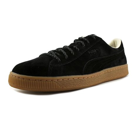 Puma Mens Basket - Puma Basket Classic Winterized Men  Round Toe Suede Black Sneakers