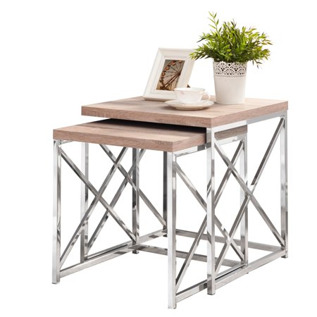 Monarch Nesting Table 2Pcs Set / Natural With Chrome Metal ()