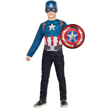 Captain America Super Shield and Costume Top Set