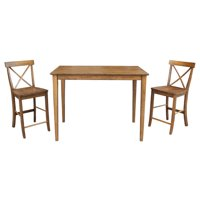 """30"""" x 48"""" Counter Height Table with 2 X-back Stools in Pecan - Set of 3"""