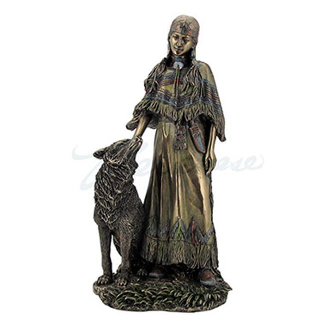 Unicorn Studios WU76627A4 Indian Woman Petting Wild Wolf Sculpture - image 1 of 1