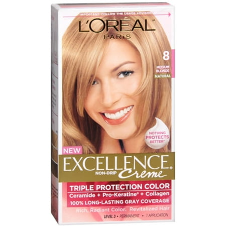 L'Oreal Excellence Creme, Blonde 8 Medium, 1 Each (Pack of (Loreal Excellence Creme)
